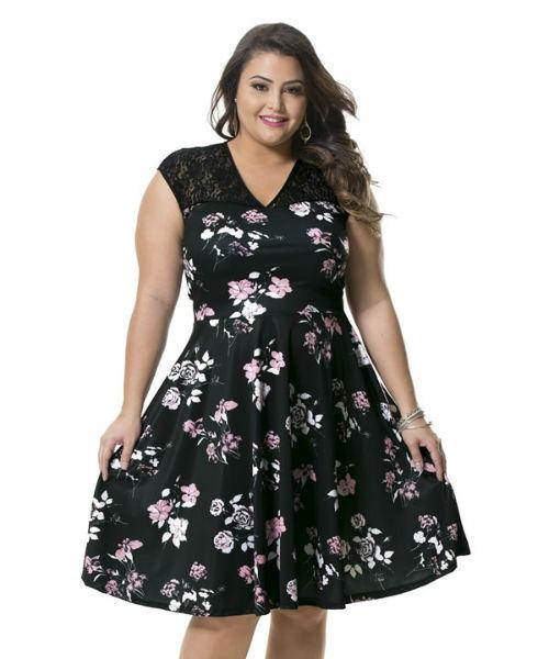 vestido para gordinha estampa floral