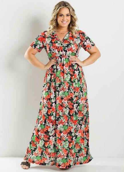 vestido para gordinha long estampa