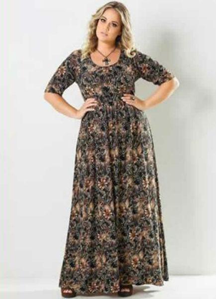 vestido para gordinha longo estampa 2