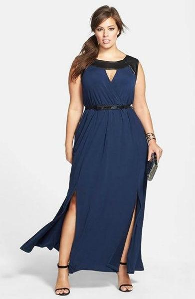 vestido para gordinha longo marinho com fenda