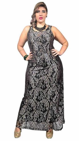 vestido para gordinha preto estampa festa