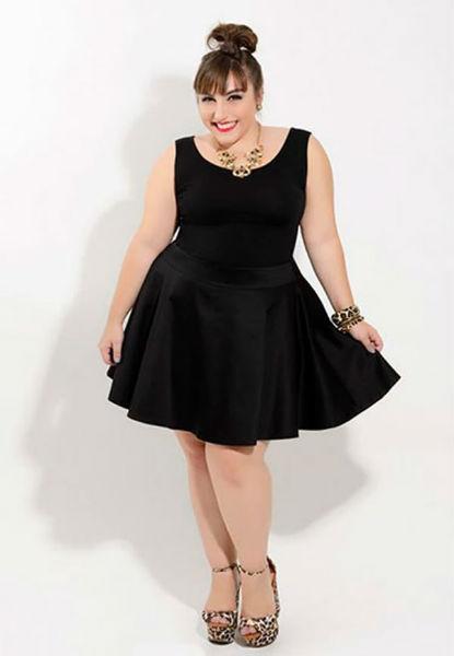 vestido para gordinha preto rodado