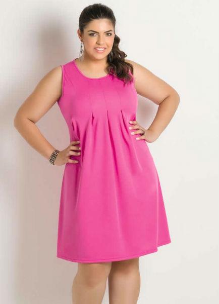 vestido para gordinha rosa fofo