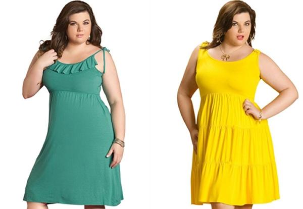 vestido para gordinha verde e amarelo liso