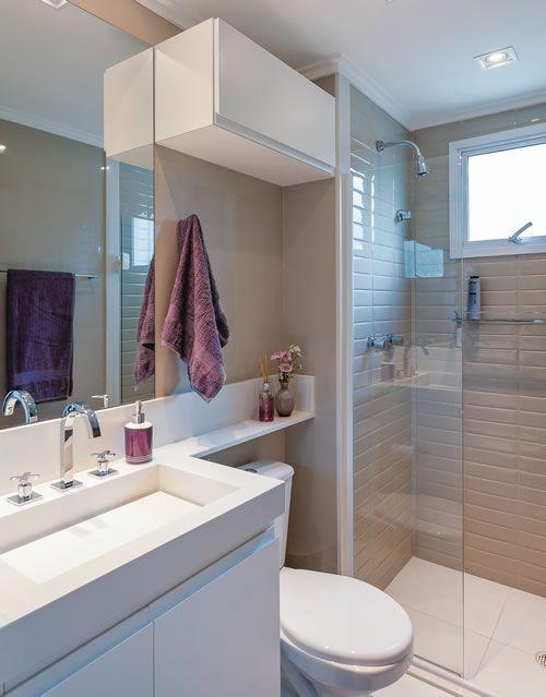 Banheiros Pequenos Decorados Veja modelos e como decorar -> Otimizar Banheiro Pequeno