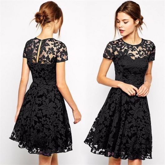 a68fa0beb372b O vestido com renda pode ser assim. Esse modelo é um dos mais usados por  mulheres jovens, pois ele traz mesmo essa jovialidade. A saia pode ser mais  longa e ...