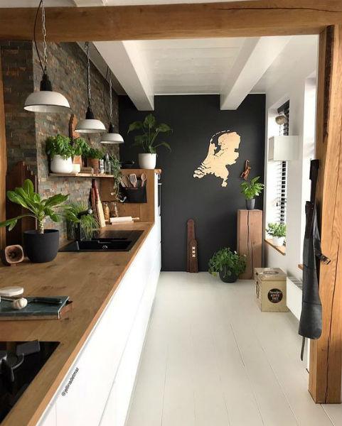 Chalkboard decorando uma parede da cozinha moderna