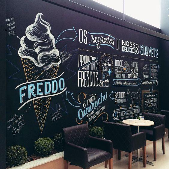 Chalkboard na parede inteira na decoração de restaurante