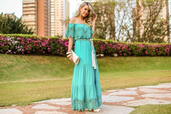 vestido longo de verao azul turquesa