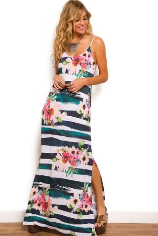 vestido longo de verao fenda lateral